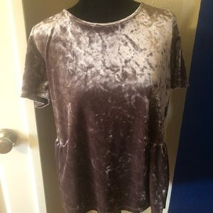 Crushed velvet top with ribbon tie in back
